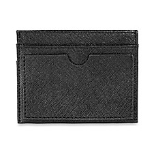 image of Leather Slim Double-Sided Card Holder in Black