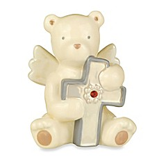 image of Grasslands Road® Bear Angel with July Ruby-Colored Glass Birthstone Cross