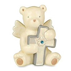 image of Grasslands Road® Bear Angel with September Blue Sapphire-Colored Glass Birthstone Cross