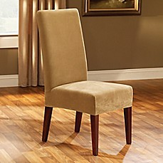 Image Of Sure FitR Stretch Pique Short Dining Room Chair Slipcover In Antique