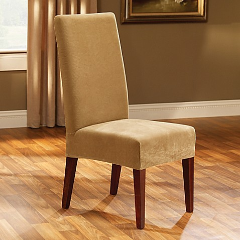 Sure fitr stretch pique short dining room chair slipcover for Sure fit stretch slipcovers clearance