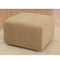 image of Sure Fit® Stretch Pique Ottoman Cover in Antique