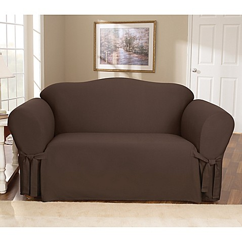 Sure Fit Duck Supreme Cotton Loveseat Slipcover In Warm Chocolate Bed Bath Beyond