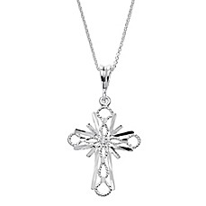 image of Sterling Silver 18-Inch Chain Diamond-Cut Cross Pendant