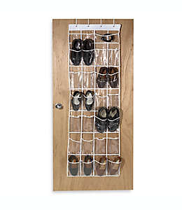 Zapatera de vinilo para puerta de vinilo transparente con 24 compartimentos