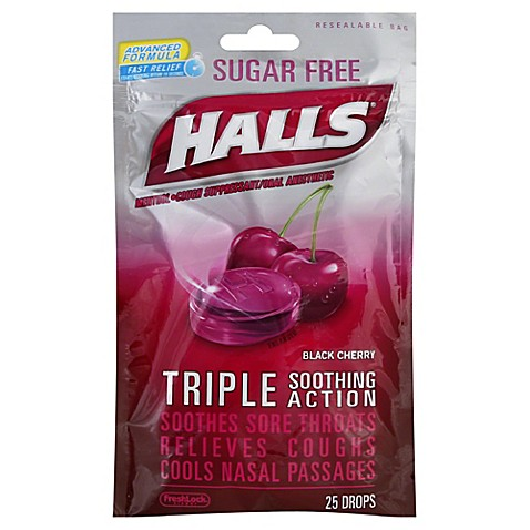 halls 25 count sugar free cough drops in black cherry bed bath beyond. Black Bedroom Furniture Sets. Home Design Ideas