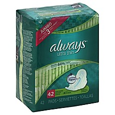image of Always Maxi Ultra Thin 42-Count Long Super Pads With Wings