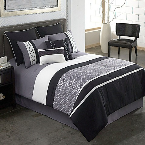 gray bedroom set covington 8 comforter set in grey black bed bath 11721