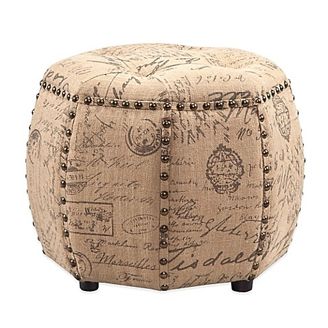 Madison Park Brianna Octagon Tufted Ottoman In Tan
