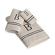 image of Avanti Monogram Block Letter Bath Towel Collection in Ivory