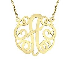 image of Alison & Ivy 14K Yellow Gold Over Sterling Silver 18-Inch Chain Ribbon Letter Necklace