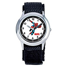 image of Marvel Children's 30mm Spider-Man Time Teacher Watch in Stainless Steel with Black Strap