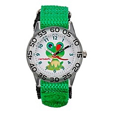 image of Red Balloon Children's 32mm Frog Watch in Stainless Steel with Green Strap