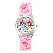 image of Disney® Children's 32mm Princess Watch in Stainless Steel with Pink Nylon Strap