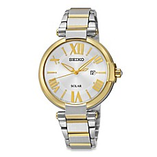 image of Seiko Ladies' Two-Tone Solar Recraft Watch in Stainless Steel