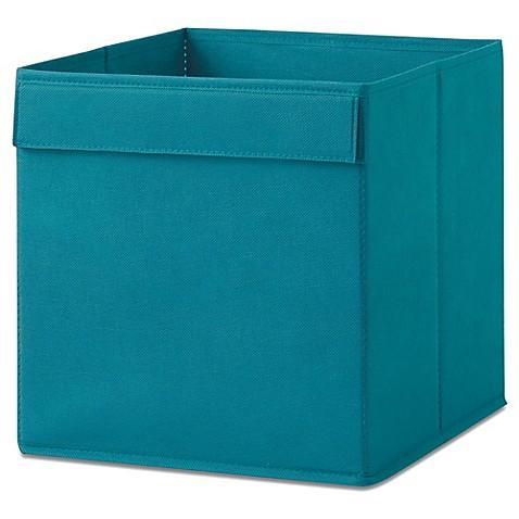 Real simple fabric bin in teal bed bath beyond for Teal bathroom bin