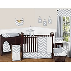 Image Of Sweet Jojo Designs Chevron Crib Bedding Collection In Grey White