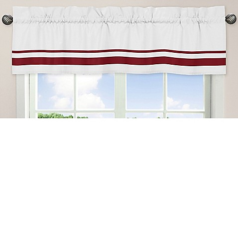 Sweet jojo designs hotel crib window valance in white red for Hotel design valence
