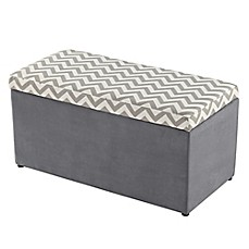 image of Tree House Lane Chevron Upholstered Toy Chest in Grey and White