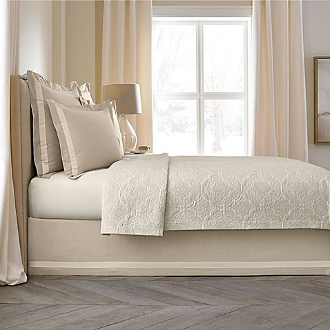 wamsutta® collection linen cotton blend bed skirt - bed bath & beyond