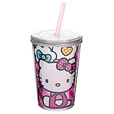 image of Zak! Designs® Hello Kitty® 13 oz. Double Wall Tumbler with Straw