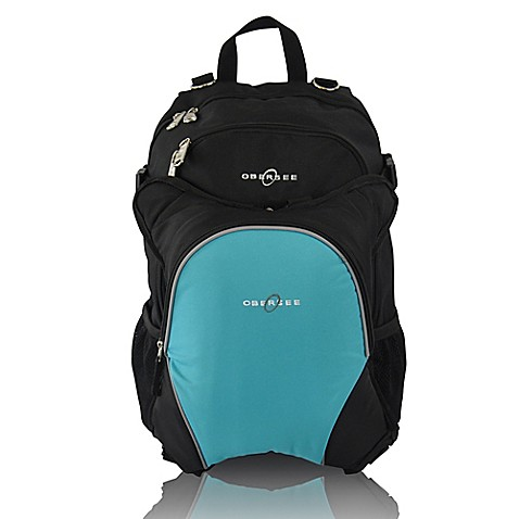 buy obersee rio diaper bag backpack with detachable cooler in black turquoise from bed bath beyond. Black Bedroom Furniture Sets. Home Design Ideas