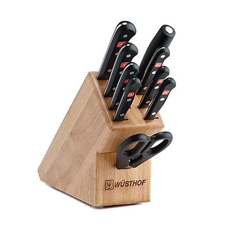 Wusthof gourmet 10 piece knife block set in natural bed for Wusthof kitchen essentials set 7 piece