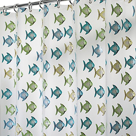Interdesign Peva Fishy Shower Curtain In Blue Green Bed Bath Beyond