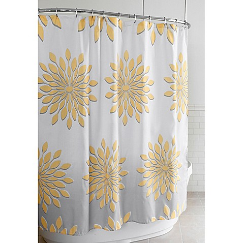 Extra Wide Medina Floral Shower Curtain In White Yellow