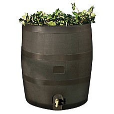 image of Round 35-Gallon Rain Barrel with Planter in Mud