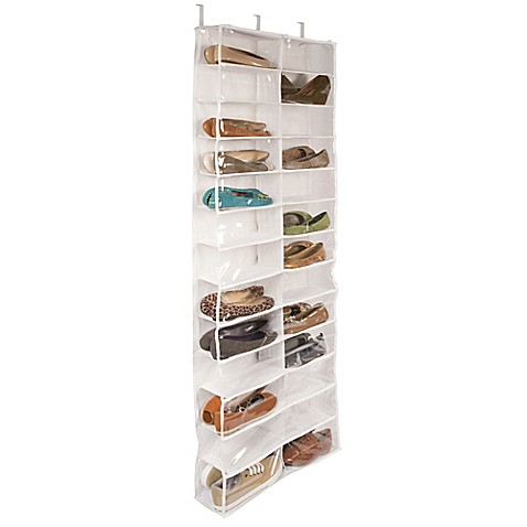 Delightful Closetware Clear Over The Door 26 Pocket Shoe Organizer