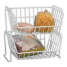 image of Grayline Stacking Basket in White