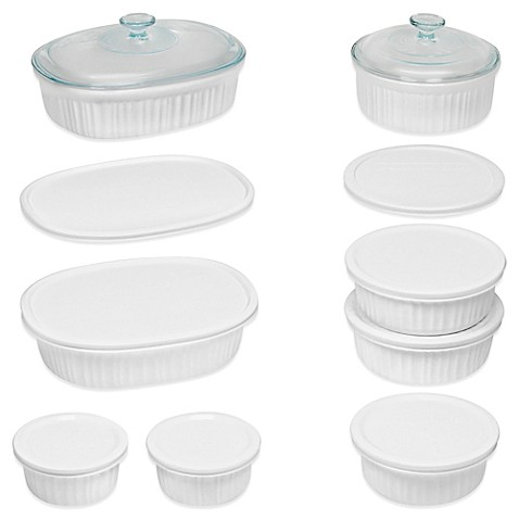 Personalization is required to add item to cart or registry.  sc 1 st  Bed Bath \u0026 Beyond & CorningWare® French White® 18-Piece Bakeware Set - Bed Bath \u0026 Beyond