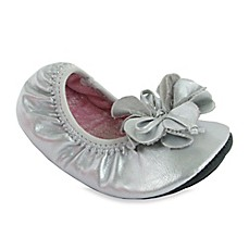 image of Natural Steps Pearlized Foldable Ballet Flat in Silver