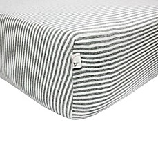 image of Burt's Bees Baby® Bee Essentials Stripe 100% Organic Cotton Fitted Crib Sheet in Grey
