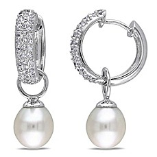 image of Sterling Silver White Topaz and Freshwater Cultured Pearl Encrusted Dangle Hoop Earrings
