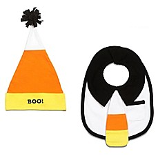 image of Itty Bitty & Handsome Size 0-12M 2-Piece Mr. Trickster Hat and Bib Set in Orange/Black