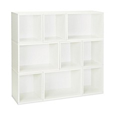 image of Way Basics Tool-Free Assembly Oxford 9-Piece Stackable Modular Storage and Bookcase in White