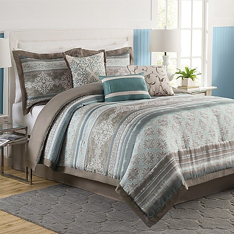 Tresco 7 piece comforter set bed bath beyond 7 piece queen bedroom furniture sets