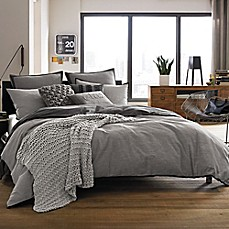 image of Kenneth Cole Reaction Home Oxford Duvet Cover in Grey Stripe