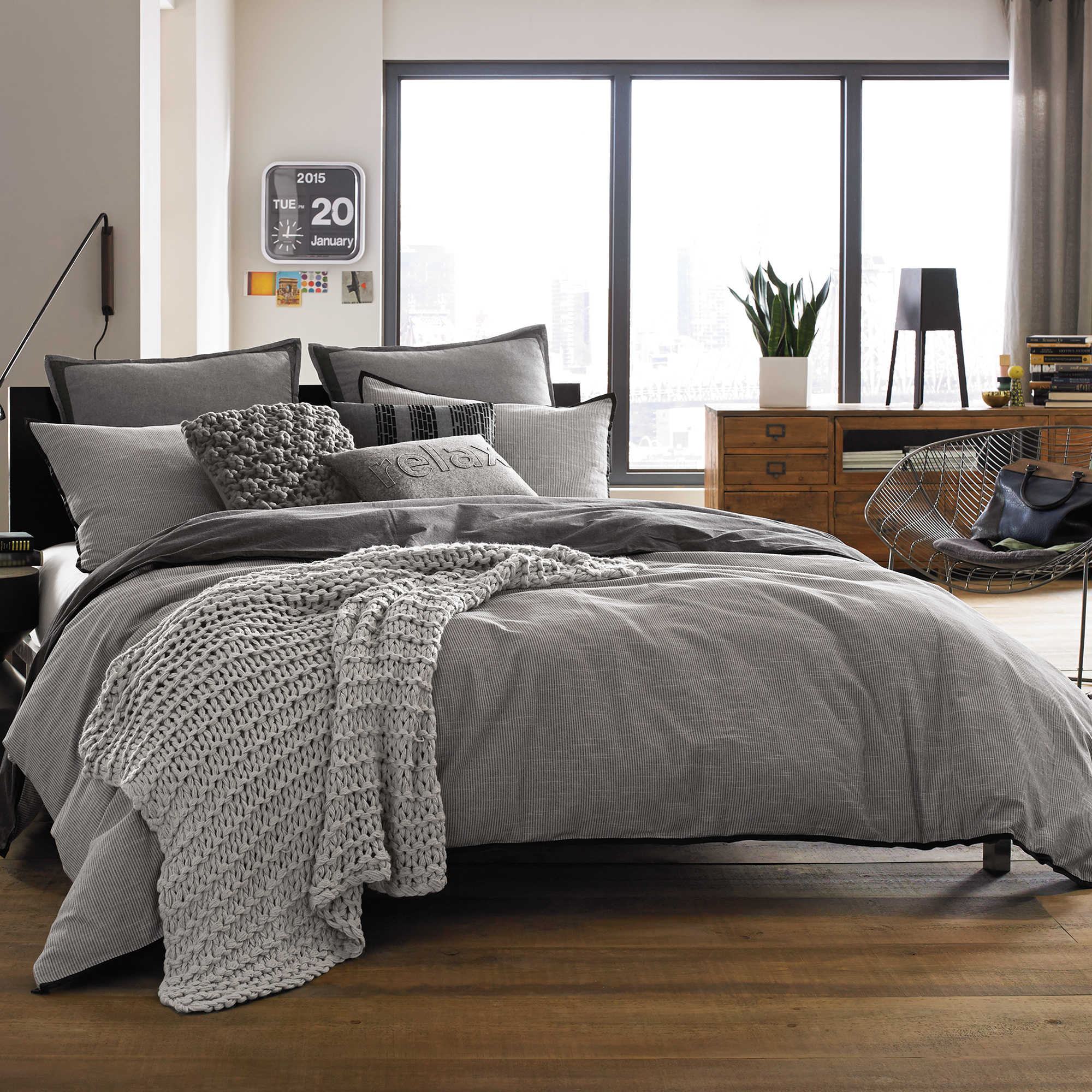 kenneth cole reaction home oxford duvet cover in grey stripe  bed  - kenneth cole reaction home oxford duvet cover in grey stripe