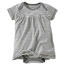 image of Burt's Bees Baby® Organic Cotton Short Sleeve Dress in Grey Stripe