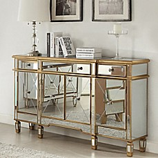 image of powell gold and mirrored 3 drawer4 door console beyond furniture