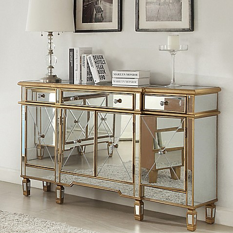 Powell Gold And Mirrored 3 Drawer4 Door Console Bed