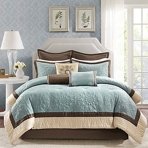 Madison Park Juliana 9-Piece Comforter Set in Blue - Bed Bath & Beyond