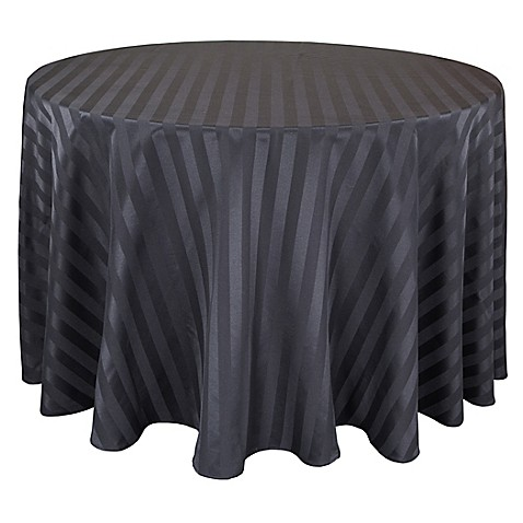 Buy Riegel Satin Stripe 90 Inch Round Tablecloth In Black