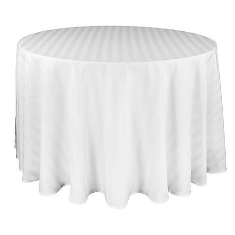 Buy Riegel 174 Satin Stripe 70 Inch Round Tablecloth In White