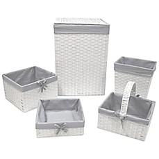 image of Redmon 5-Piece Hamper Set with Grey Liners in White