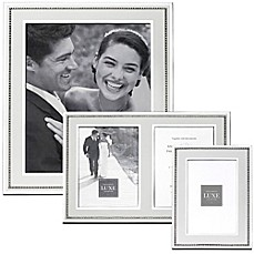 image of Reed & Barton Luxe Collection Facets Picture Frame in White/Silver