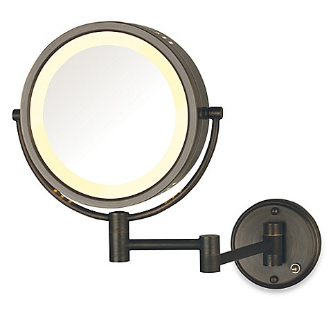 Bathroom Mirror Bed Bath And Beyond jerdon 8x/1x lighted direct wire wall mount mirror - bed bath & beyond